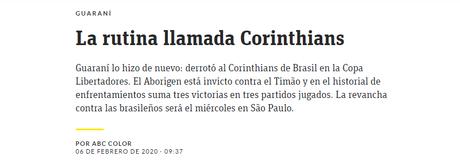 Manchete do jornal ABC, do Paraguai, exaltando a vitória e a invencibilidade do Guarani diante do Corinthians (Foto: Reprodução)