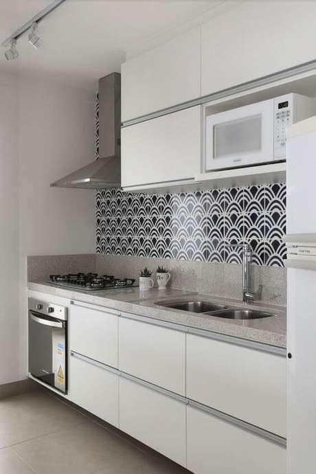 21. Armário de cozinha branca com revestimento preto e branco – Via: Gomesgn
