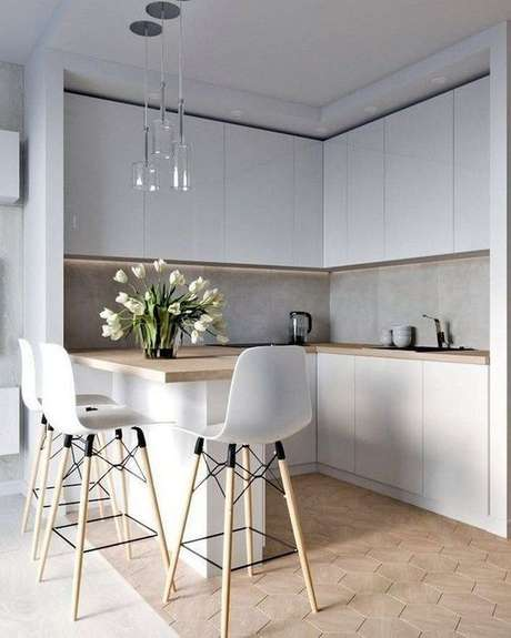 5. Armário de canto cozinha branca e clean – Foto: Magz House