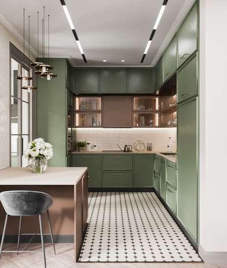 74. Armário de cozinha verde – via: Bahance