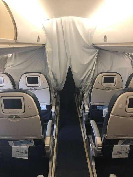 Imagem interna do avião que vai transportar os brasileiros que serão trazidos de Wuhan