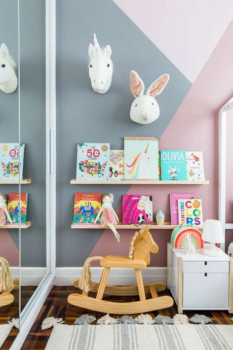 48. Espaço no quarto infantil para fazer uma brinquedoteca – Foto: Mooui