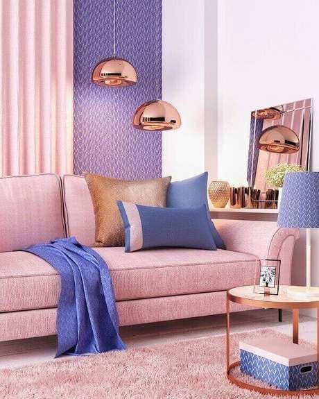 55. Tapete rose para sala de estar. Fonte: Pinterest