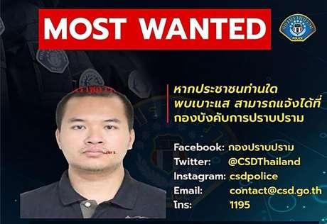 Polícia tailandesa colocou um alerta de procurado em sua página no Facebook