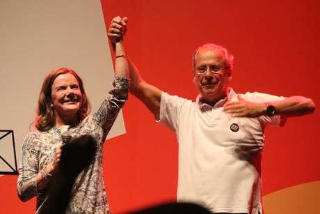 Gleisi Hoffmann e José Dirceu durante o primeiro dia de evento em comemoração aos 40 anos do Partido dos Trabalhadores (PT), no Circo Voador, na Lapa, zona central do Rio de Janeiro