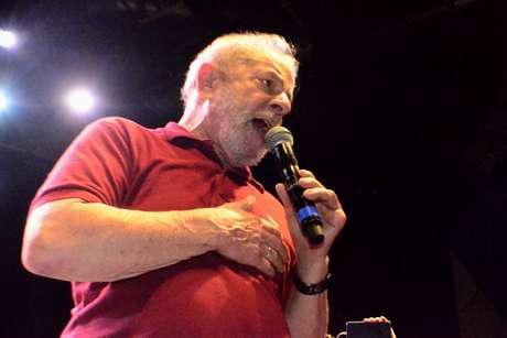 O ex presidente Luiz Inácio Lula da Silva durante o Festival PT 40 anos, realizado na Fundição Progresso, no Rio de Janeiro