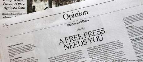 """""""Uma imprensa livre precisa de você"""", diz editorial do 'The New York Times'"""