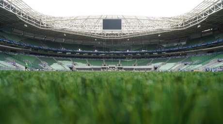 Jogadores do Palmeiras farão a primeira atividade no gramado sintético do Allianz Parque nesta quarta (Divulgação)