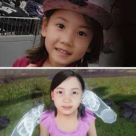 Acima, uma foto da garota pouco antes de morrer; abaixo, sua versão recriada pelos designers e 'tocada' por sua mãe
