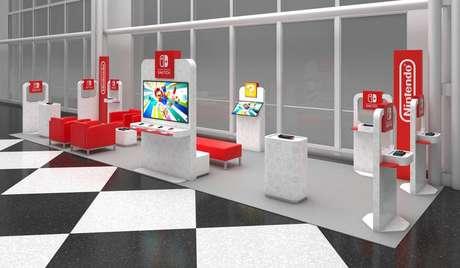 Nos estandes, os viajantes poderão jogar em consoles do Nintendo Switch.