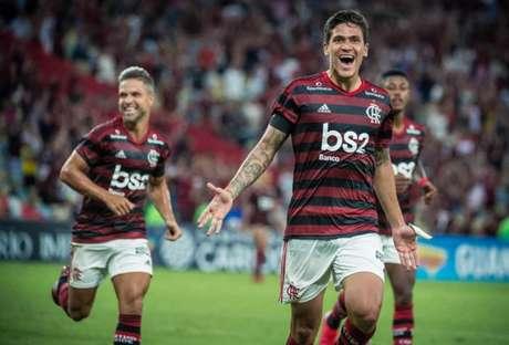 Ex-Tricolor, atacante Pedro comemora um de seus gols pelo Rubro-Negro (Foto: Alexandre Vidal / Flamengo)