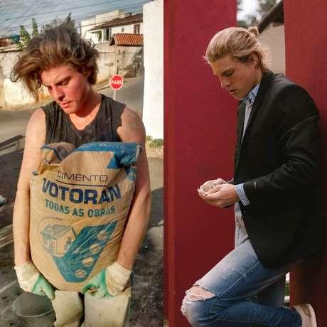 O 'pedreiro model' carrega saco de cimento de 50 quilos e, ao lado, faz pose para fotos