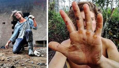 Francisco Albuquerque faz pose no meio de uma obra e mostra a mão calejada pelo esforço físico da profissão de pedreiro