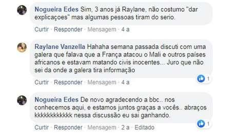 Troca de comentários do casal foi numa reportagem sobre o Mali