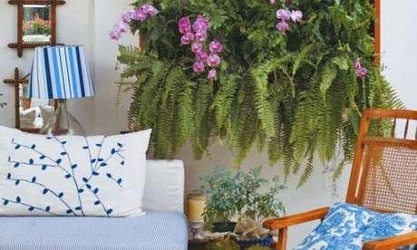 27 – Veja como cuidar de orquídea e samambaias com orquídeas no painel verde.
