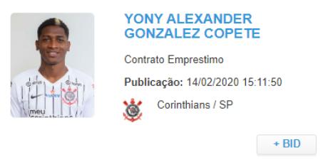 Vínculo de Yony é registrado no BID (Foto: Reprodução/CBF)