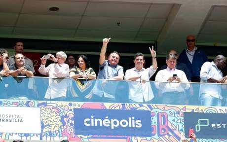 Jair Bolsonaro, presidente da República, e Sérgio Moro, ministro da Justiça, assistiram final no DF (Foto: Divulgação/Twitter)