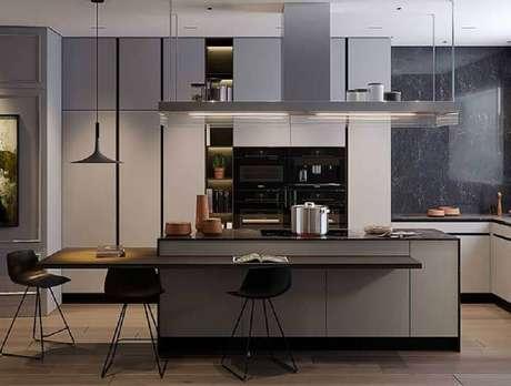 39. Decoração moderna para cozinha com cooktop toda cinza – Foto: Behance