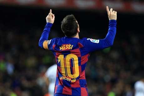 Messi comemora gol pelo Barcelona.