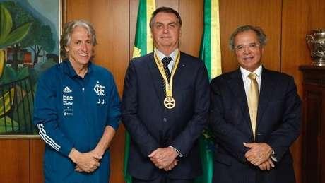 Jorge Jesus encontrou o presidente Jair Bolsonaro (Foto: Divulgação/Presidência da República)