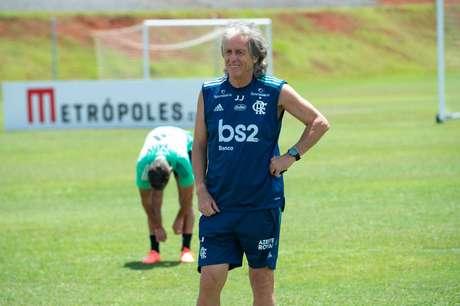 Jorge Jesus comandou o treino do Flamengo em Brasília um dia após a conquista da Supercopa do Brasil (Foto: Divulgação/Alexandre Vidal)