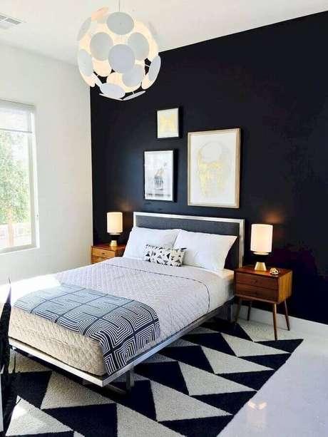 4. A decoração do quarto preto e branco é sinal de ambiente moderno e requintado – Foto: Arquitetura