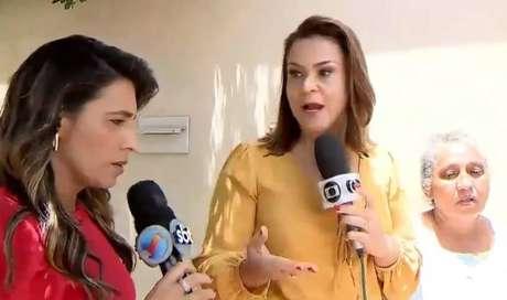 Rozaine Ferraz e Patrícia Bringel discutem durante transmissão ao vivo.