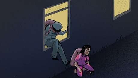 Ilustração: prisioneira fugindo pela janela com o guarda
