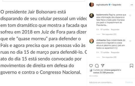 Postagem de Regina Duarte sobre manifestação de 15 de março