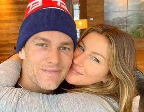 A modeloGisele Bündchen e o marido, o jogadorTom Brady.