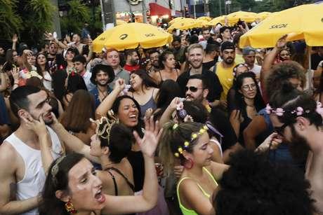 Foliões se divertem com o desfile do Bloco Não Serve Mestre, na Avenida Henrique Schauman