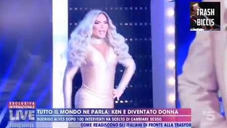 A trans brasileira na TV italiana: 'Ken se tornou uma mulher - Rodrigo Alves depois de 100 intervenções estéticas decide mudar de sexo'