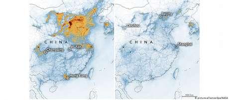Mapas comparam os níveis de dióxido de nitrogênio na China no início do ano (à esq.) e em fevereiro