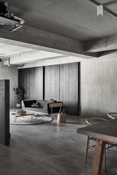 24. Porcelanato cinza na sala de estar em tons de cinza – Via: Pinterest