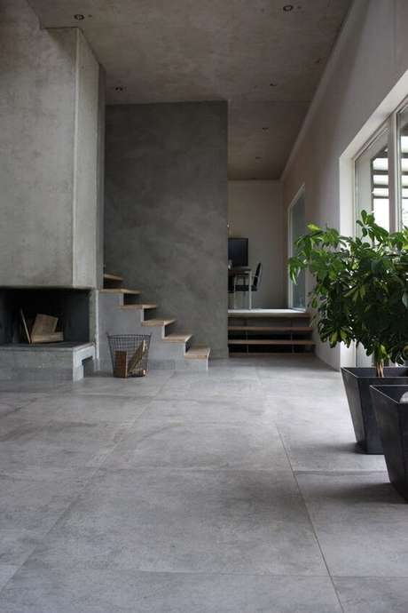 33. Porcelanato cinza e moderno – Via: Pinterest