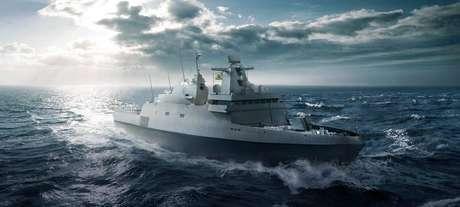 Ilustração da fragata lançadora de mísseis da nova classe Tamandaré da Marinha do Brasil