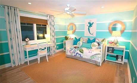8. Forme uma linda composição em tons de azul na decoração do quarto infantil. Fonte: Pinterest