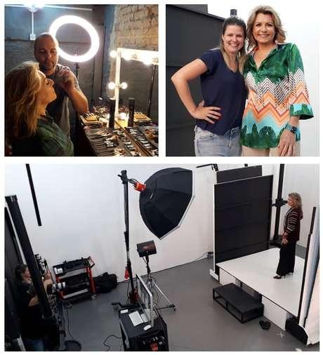 Acima, Olga com a estilista Carla Folloni e sendo maquiada; abaixo, no estúdio: dia de top model