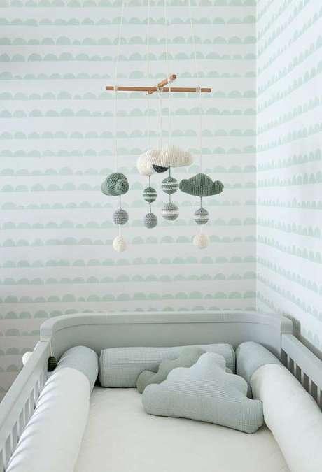 30. Detalhes para quarto de bebê verde e cinza – Via: Pinterest