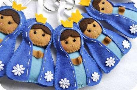38. Invista na confecção de chaveiros de feltro com a imagem da Nossa Senhora Aparecida. Fonte: Casinha de Pano