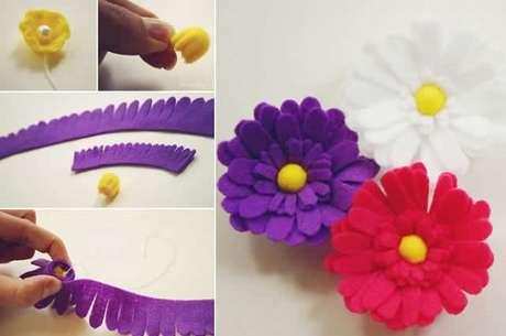 7. O chaveiro de feltro flor pode ser feito de diferentes cores. Fonte: Howjoyfu