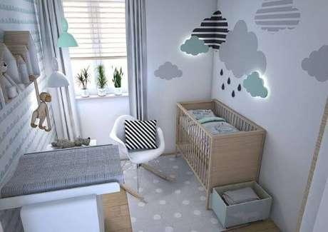 41. O quarto de bebê verde e cinza é neutro e lindo – Via: Pinterest