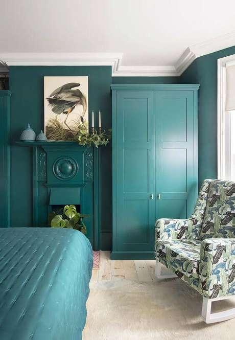 65. Quarto verde com móveis combinando – Via: Pinterest