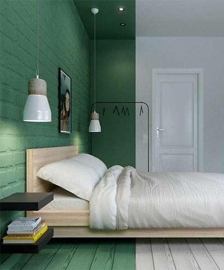 69. Quarto verde e branco, super clean – Via: Pinterest