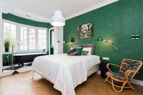 13. Decoração de quarto verde e super clean – Via: Pinterest