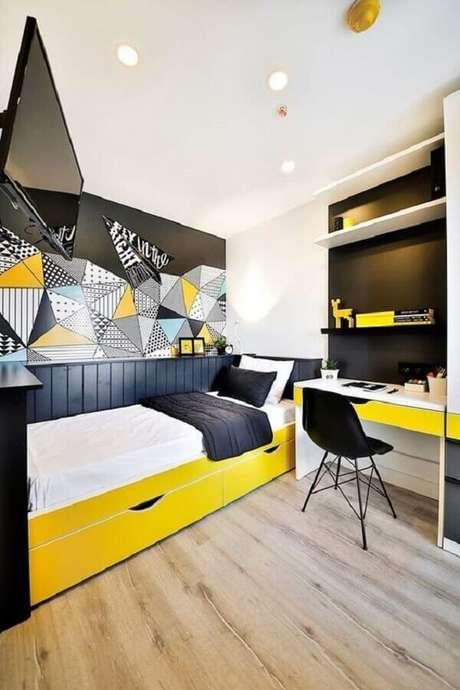 5. Decoração jovem e moderna para quarto amarelo e preto – Foto: Ideias Decor