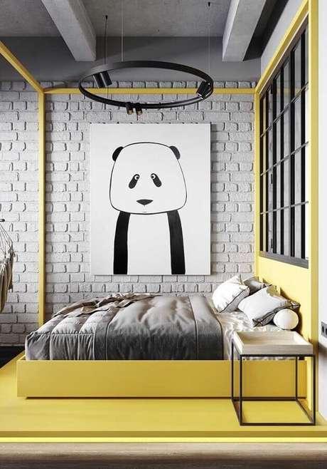 43. Decoração com estilo industrial para quarto amarelo e cinza – Foto: Pinterest