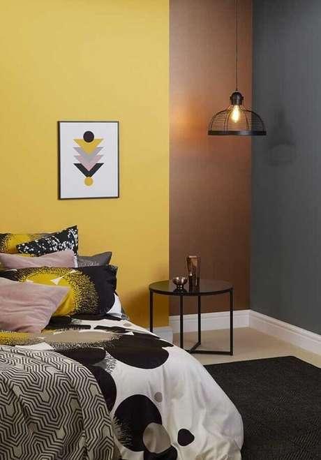 45. Decoração de quarto amarelo moderno – Foto: Pinterest