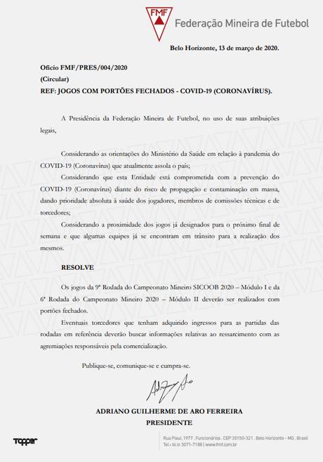 Nona rodada do Campeonato Mineiro será sem público (Foto: Divulgação/FMF)