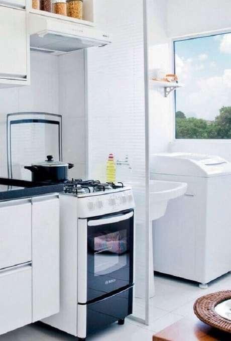 22. Decoração clean para cozinha com lavanderia simples – Foto: Pinterest